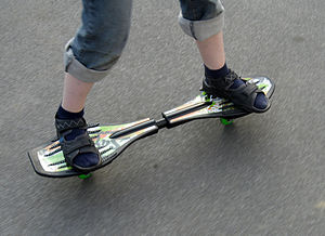 "Caster board - As in skateboarding, riding with the left foot leading is called ""Regular stance"". Riding with the right foot leading is called ""Goofy stance""."