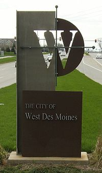 West Des Moines welcome sign on George Mills Civic Pkwy. just west of Interstate 35