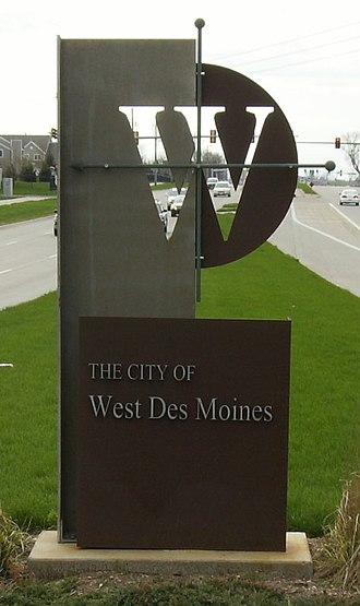 West Des Moines, Iowa - West Des Moines welcome sign on George Mills Civic Pkwy. just west of Interstate 35