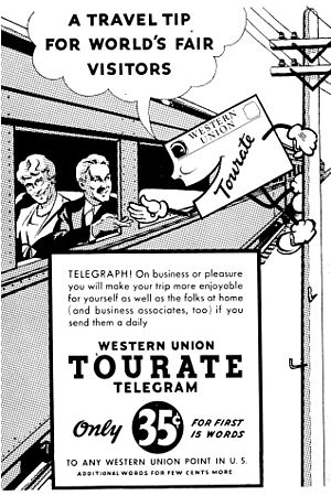 "Western Union - Advertisement for Western Union ""Tourate"" telegram service, 1939"