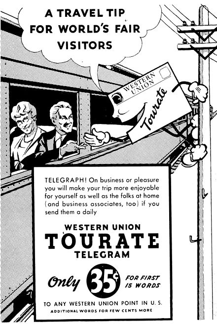 "Advertisement for Western Union ""Tourate"" telegram service, 1939 Western Union ""TOURATE"" Telegram ad 1939.jpg"