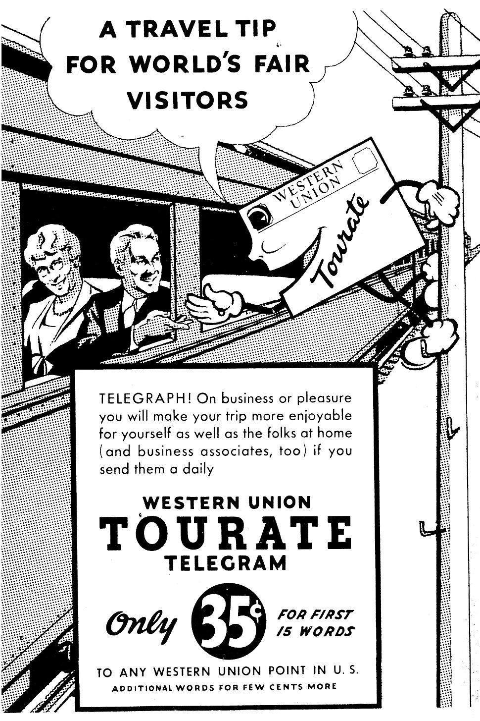 "Western Union ""TOURATE"" Telegram ad 1939"
