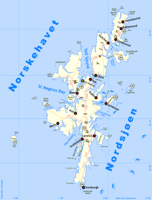 Sullom Voe Terminal - Sullom Voe terminal location on the Shetland Islands.