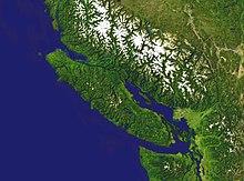 Satelita bildo de Vankuvera Insulo
