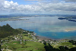 View of Whangarei Harbour from Mount Manaia, looking west over Mcleod Bay