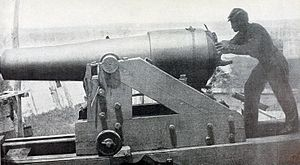 "Siege of Vicksburg - ""Whistling Dick"" was the name given to this specific Confederate 18 pounder because of the peculiar noise made by its projectiles. It was part of the defensive batteries facing the Mississippi River at Vicksburg. On May 28, 1863, its fire sank the USS Cincinnati."