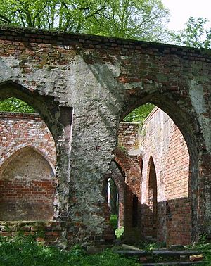 Jasienica, Police - Fragment of ruin of Augustinians' cloister in Police-Jasienica (14th century)