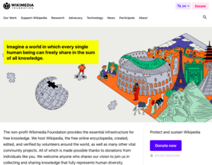 Wikimedia Foundation website screenshot - 09 July 2019.png