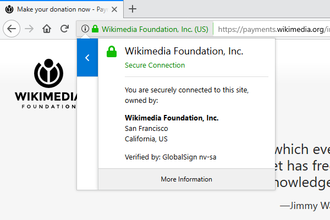 HTTPS - Image: Wikimedia donation page with extended validation certificate in firefox