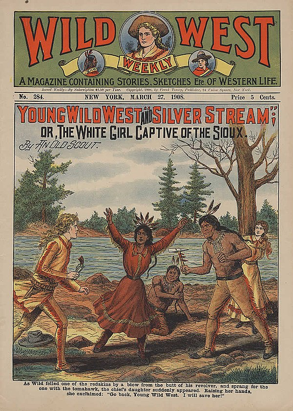 """As Wild felled one of the redskins by a blow from the butt of his revolver, and sprang for the one with the tomahawk, the chief's daughter suddenly appeared. Raising her hands, she exclaimed, 'Go back, Young Wild West. I will save her!'"" (1908) Wild West 1908.jpg"