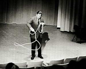 Will Rogers Jr. - Rogers at Alaska Methodist University during the 1967–1968 academic year, showing attendees his skill with a lasso.