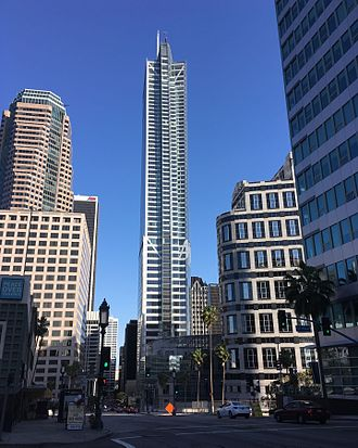 Wilshire Grand Center - West face of Wilshire Grand Tower, April 2017