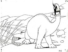 A black and white drawing from an animated cartoon, with small crosses marked. A dinosaur lifts a man in its mouth.