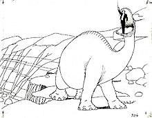 Un dessin noir et blanc d'un dessin animé, avec de petites croix marquée.  Un dinosaure lève un homme dans sa bouche.