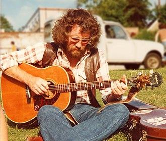 Wizz Jones - Wizz Jones at the Norwich Folk Festival, U.K., 1978, playing his trademark 1963 Epiphone Texan guitar