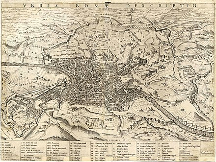 Almost 500 years old, this map of Rome by Mario Cartaro shows the city's primary monuments. Wolf-Dietrich-Klebeband Stadtebilder G 123 III.jpg