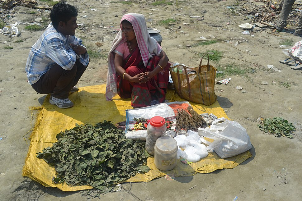 Woman selling Cannabis and Bhang in Guwahati, Assam, India