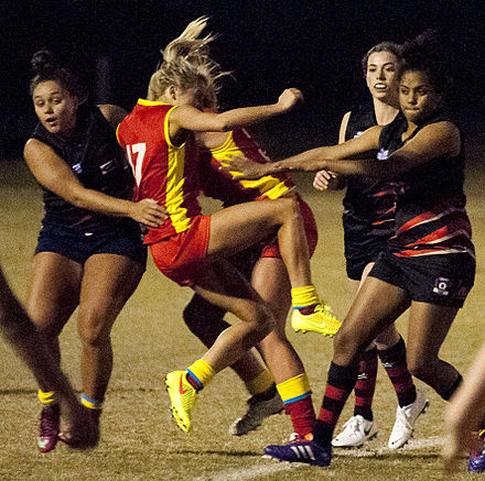 Action from a women's match on the Gold Coast between Bond University and Burleigh Heads Women's AFL match.jpg