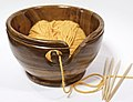 Wooden yarn bowl with needles 2.jpg