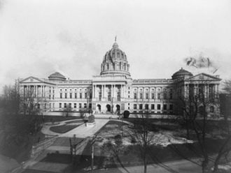 Pennsylvania State Capitol - The capitol building, photographed by William H. Rau shortly after its dedication