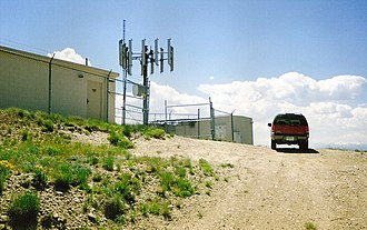Cell site - A short-mast cell site on top of a mountain in Wyoming, USA