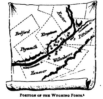 Battle of Wyoming - Wyoming Forts. A-Fort Durkee, B-Fort Wyoming or Wilkesbarre, C-Fort Ogden, D-Kingston Village, E-Forty Fort, G-battleground, H-Fort Jenkins, I-Monocasy Island, J-Pittstown stockades, G-Queen Esther's Rock.