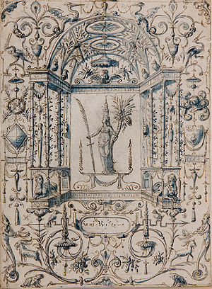 Moresque - Mannerist grotesque ornament drawing by the Dutch painter and architect Hans Vredeman de Vries (1527–1609), of around 1604.  The figures of the fauns at bottom, and almost the dragons at top, are moresques in the figure sense.
