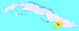 Yara municipality (red) within  Granma Province (yellow) and Cuba