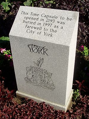 York, Toronto - This time capsule outside the York Civic Centre is intended to be sealed for 196 years. It also depicts the city's logo and coat of arms, which contains the city's motto in Latin. The other former municipalities of Metropolitan Toronto all have mottoes in English.