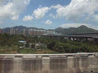 Kong Sham Western Highway - View from Yuen Long Highway toward the Kong Sham Western Highway and Lau Fau Shan.