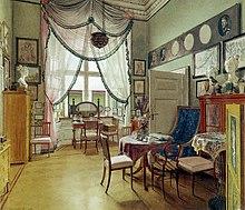 Zimmerbild Von Eduard Gaertner (1849): Darstellung Biedermeierlichen  Interieurs In Einer Bürgerlichen Wohnung In Berlin