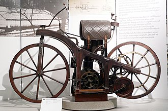 Gottlieb Daimler - The Reitwagen (riding car), the first internal combustion motorcycle (1885)