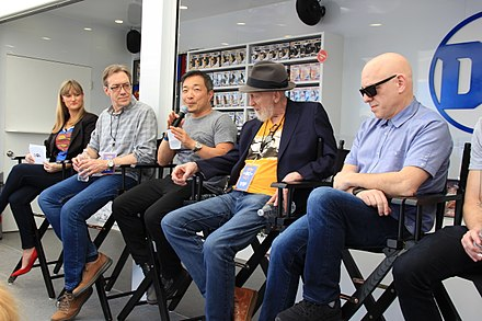 IGN's Laura Prudom (far left) hosts a panel at 2018's South by Southwest convention discussing Superman's eightieth anniversary and the release of Action Comics #1000, with (left to right): Dan Jurgens, Jim Lee, Frank Miller, and Brian Michael Bendis. (L to R) IGN's Laura Prudom, Dan Jurgens, Jim Lee, Frank Miller, Brian Michael Bendis at SXSW 2018.jpg