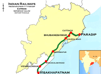 (Visakhapatnam - Paradip) Express Route map.png