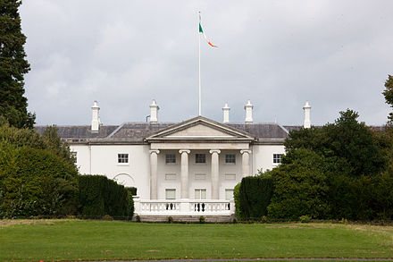 Aras an Uachtarain is the official residence of the president. Aras an Uachtarain 2010.jpg