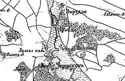 Гребля на військово-топографічній мапі Російскої Імперії, 1917 рік