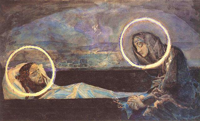 Надгробный плач, второй вариант. Акварель, 1887. Киевский музей русского искусства