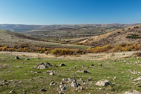 Landscape in the Zletovo-Probištip Region of Macedonia with the villages of Zarapinci (left), Puzderci (right) and Kukovo (in the background)