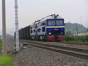 Harbin–Suifenhe Railway - Freight train carrying coal on the Harbin–Suifenhe Railway near the Yuquan Station in Harbin.