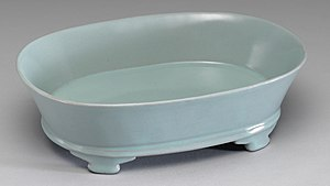 Celadon - Narcissus Basin with Light Bluish-green Glaze, Ru ware, National Palace Museum.