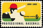 100th Anniversary Professional Baseball 6c 1969 issue U.S. stamp