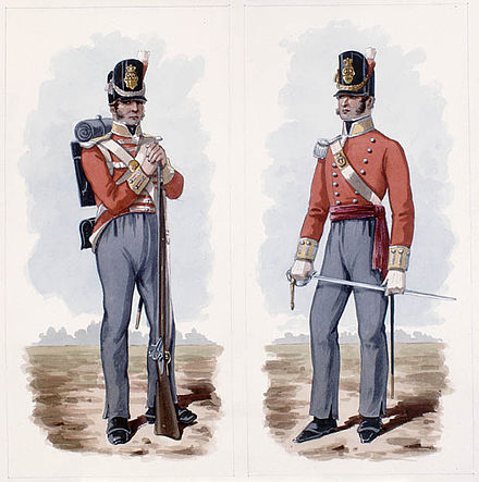 Depiction of a British private (left) and officer (right) of the period 100th Regiment of Foot c1812-1814.jpg