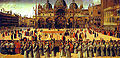 1496 Gentile Bellini, Procession in St. Mark's Square Tempera on canvas, 367x745cm, Galleria dell'Accademia, Venice.jpg