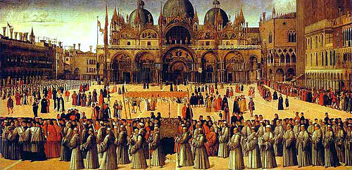 1496 Gentile Bellini, Procession in St. Mark's Square Tempera on canvas, 367x745cm, Galleria dell'Accademia, Venice