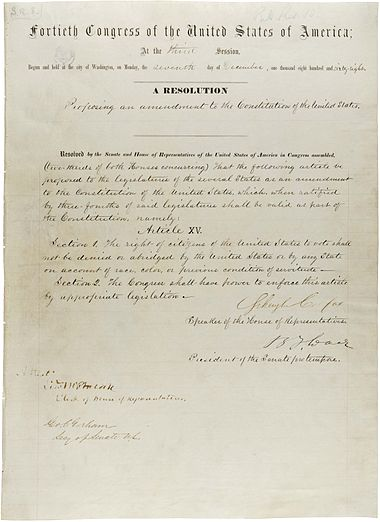 an analysis of the fifteenth amendment of the us constitution