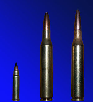 .25-06 Remington - Left: .17 HMR, center and right: .25-06 Remington