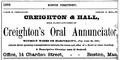 1873 Creighton Oral Annunciator ChardonSt BostonDirectory.png