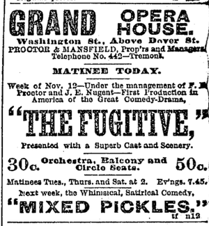 Grand Opera House (Boston) - Image: 1888 Grand Opera House Boston Daily Globe Nov 13