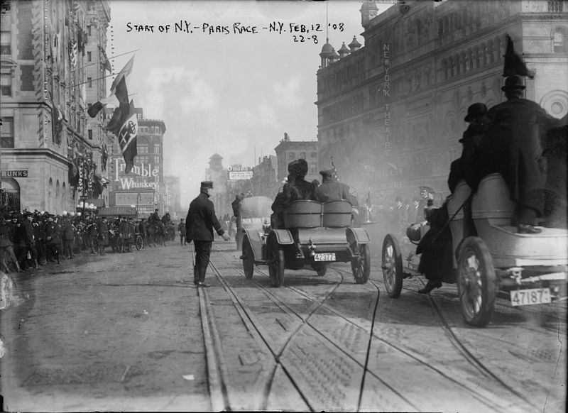 File:1908 New York to Paris Race, start.jpg