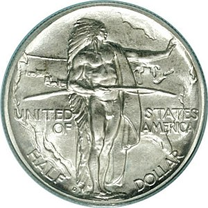 Oregon Trail Memorial half dollar - Image: 1939 D 50C Oregon (obv)